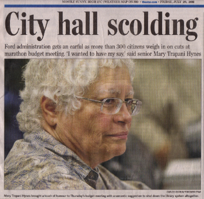 Photo of Mary Hynes on front page of Toronto Star, July 29, 2011