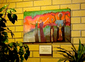 photo of painting by Kate Jackson in lobby of OWN Co-op